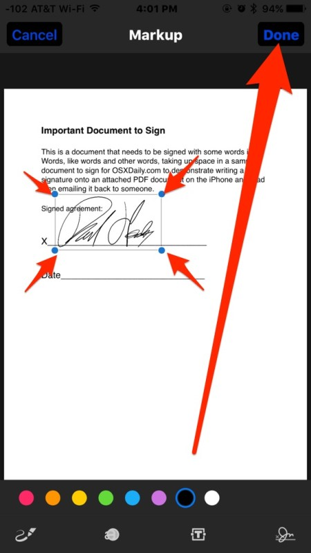 Adjust signature as needed and tap Done