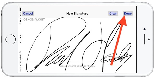Digitally sign a document on iPhone and iPad