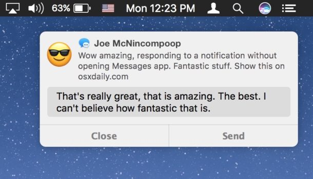 Reply to messages from Notifications on Mac