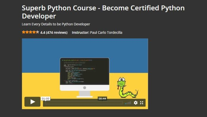 Superb Python Course- become Certified Python developer by Eduonix
