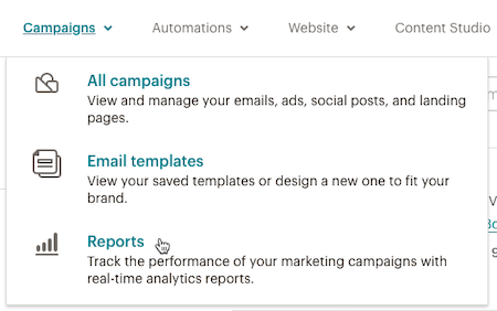 Cursor Clicks - Reports - Campaigns dropdown