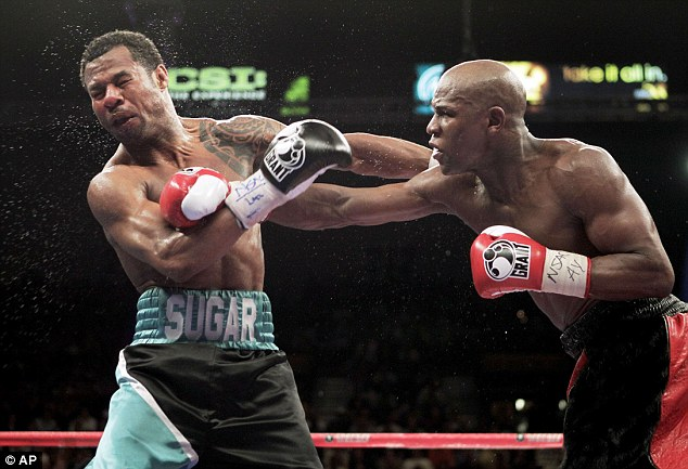 Mayweather (right) won a unanimous points decision over Shane Mosley in his only fight of 2010