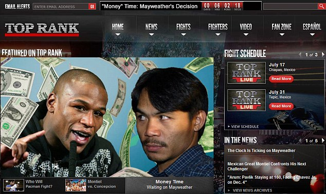 Bob Arum put a Mayweather countdown on Top Rank