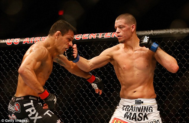 Diaz (right) lost to Dos Anjos in December 2014 but will now get the biggest money fight in the UFC