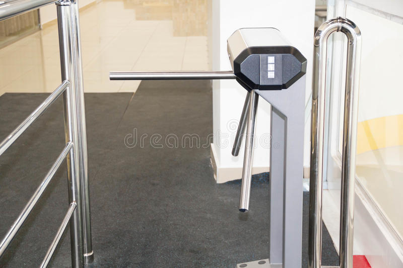 The tripod turnstile with electronic card reader is closed. of a security turnstile. Isometric turnstile. Isometric. The tripod turnstile with electronic card stock images