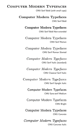 A sample gallery of many of the fonts from the CMU (Computer Modern Unicode) font family.