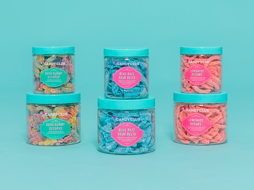 Candy Club sour candies: Sour Gummy Octopus, Blue Razz Sour Belts, and Lemonade Straws