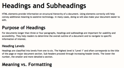 Illustration of good heading structure, see below for detailed example